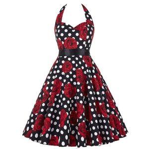 6f541718d00 Dresses & Skirts - Black and White Polka Dot Dress with Roses